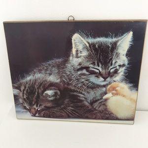 Vintage 1970's kitten art wall plaque decor print